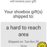 Operation Christmas Child Shoebox Location - Hard to reach area