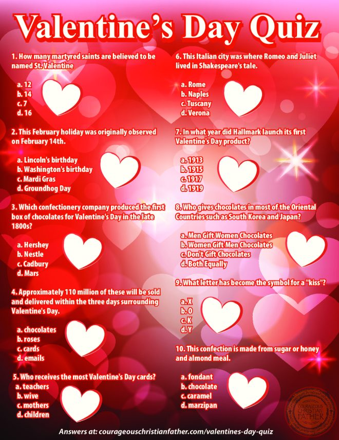Valentine's Day Quiz Printable Version