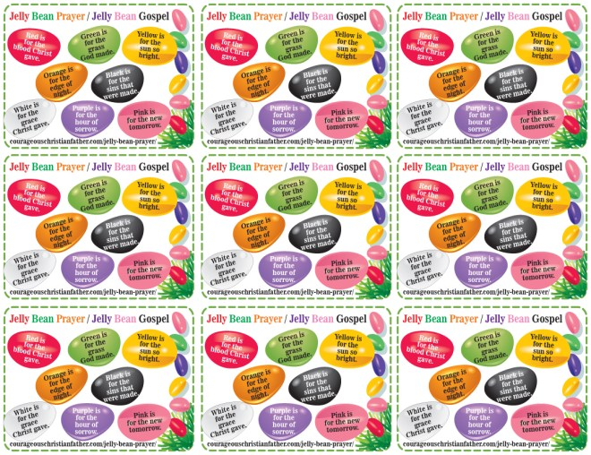 Jelly Bean Prayer Printable (9 to a page)
