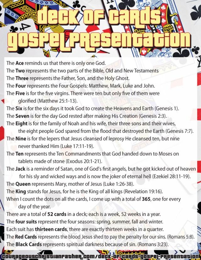 Deck of Cards Gospel Presentation Printable