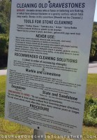 Cleaning Old Gravestones sign at Red Bird Baptist Church cemetery in Williamsburg, KY
