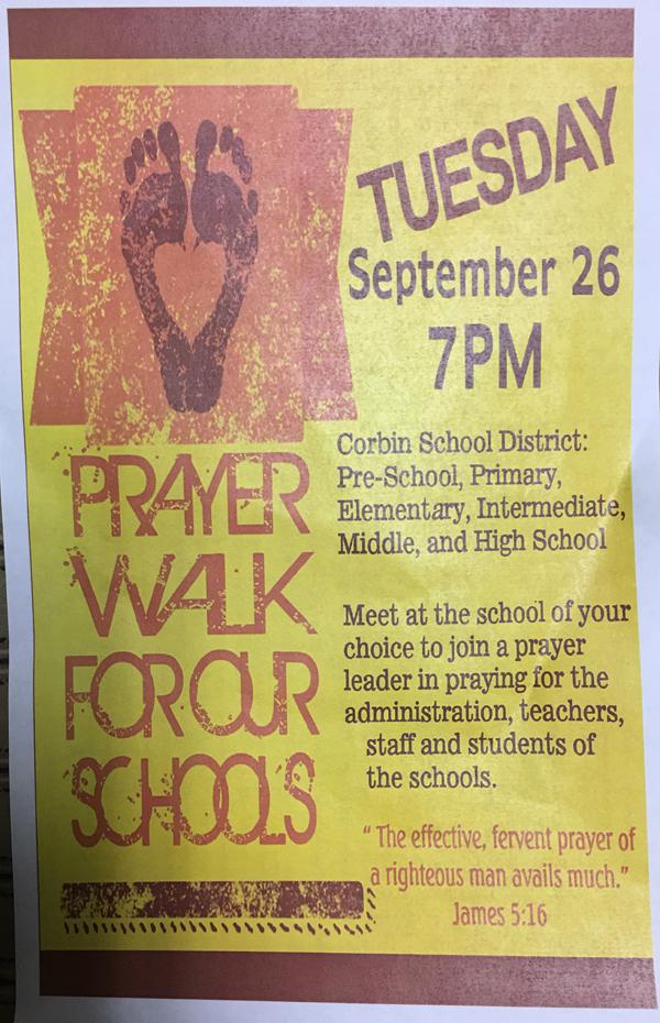 Prayer Walk for our Schools - Corbin, KY - Central Baptist Corbin Flyer