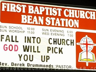 Fall In to Church God will pick you up - First Baptist Church Bean Station