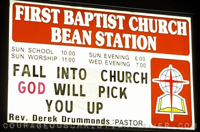Fall Into Church God will pick you up - First Baptist Church Bean Station