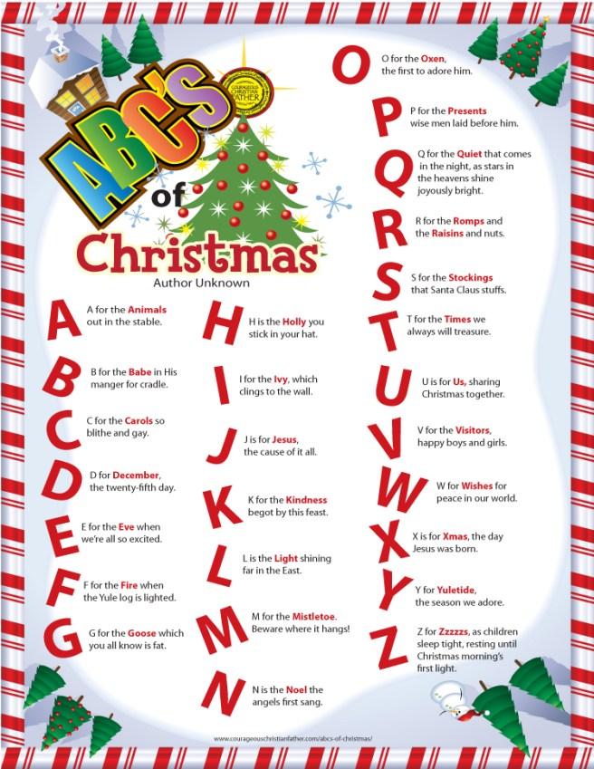 ABC's of Christmas Printable