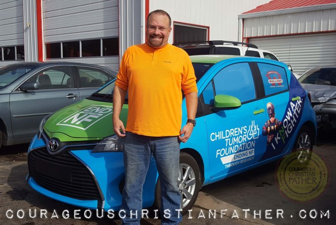Steve of Courageous Christian Father standing by the End NF Car in Corbin, KY #EndNF (Photo Credit: Heather Johnson)