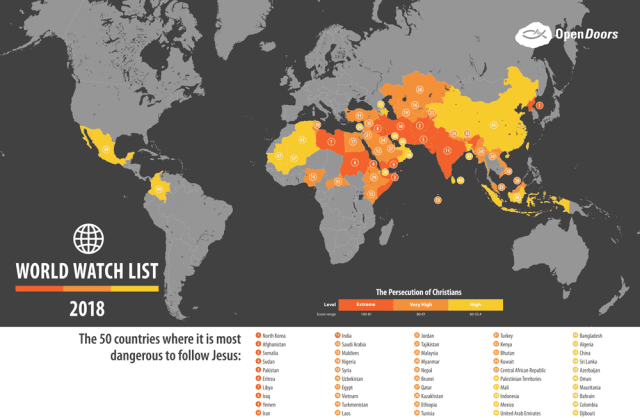 2018 Open Doors World Watch List for persecuted Christians