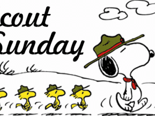Scout Sunday - Snoopy Scout and Woodstock Scouts