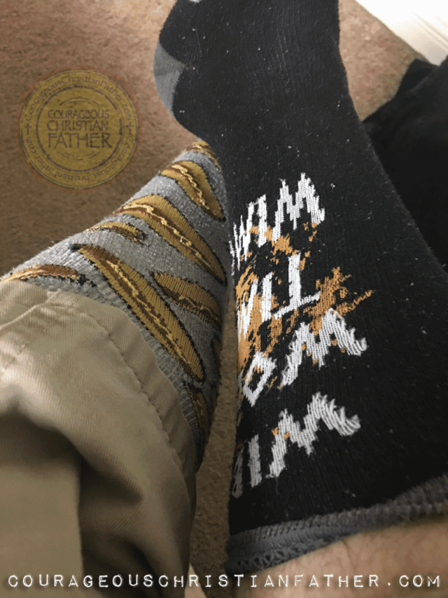 2018: Wearing Crazy Socks that are miss matched for World Down Syndrome Day #LotofSocks (Actually these are my wife's, she's wearing the other ones - so we have the same socks that are miss matched)