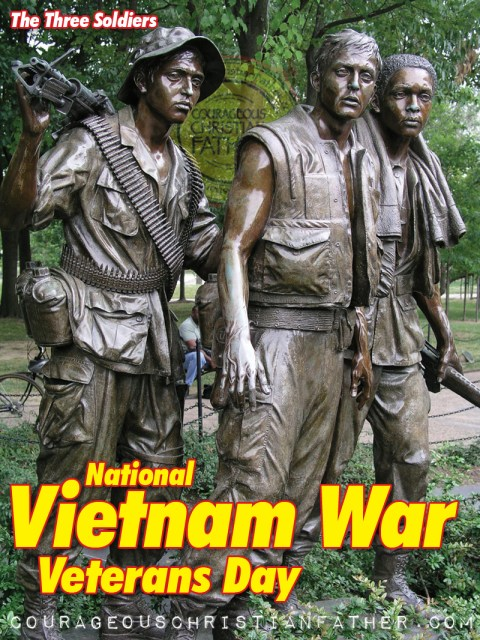 The Three Soldiers, a bronze statue on the Washington, DC National Mall commemorating the Vietnam War. (National Vietnam War Veterans Day)