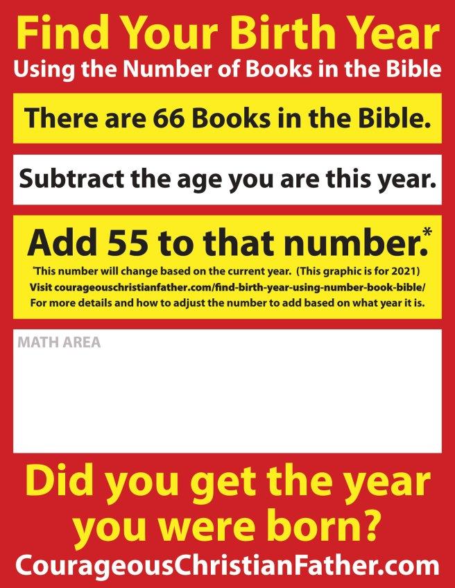 2019 - Find Your Birth Year using the number of Books in the Bible Printable Version