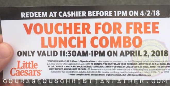 Free Pizza Combo at Little Caesars for lunch (Voucher)