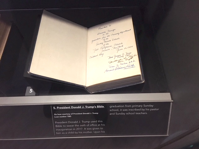 Close-up of President Trump's Inauguration Bible that joined Other Presidential Bibles at Museum of the Bible. | Photo Credit: DeMoss