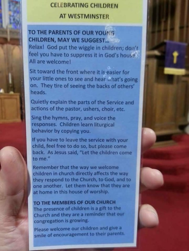 Celebrating Children - Westminister knowns what it is like to have children in church. Here is what they have printed up about celebrating children in church. #CelebratingChildren