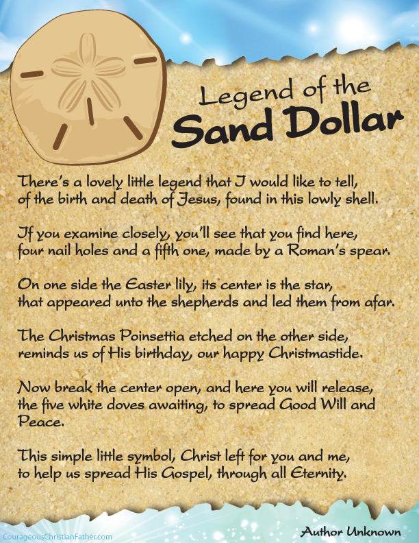 image relating to Legend of the Christmas Spider Printable called The Legend of the Sand Greenback Printable Brave