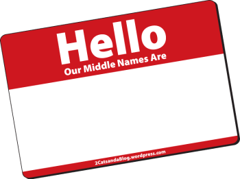 Our Middle Names - Do you cats have a middle name like hoomans do? We do! This blog post talks about what our middle names are.