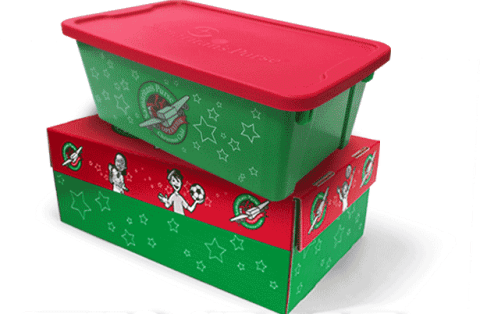 Operation Christmas Child Now Has It's Own Plastic Box - Now you can pack your goodies inside a specially printed Operation Christmas Child Plastic Box. Plus their cardboard box has been resigned and is bigger too.