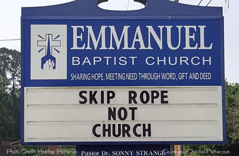 Skip Rope, Not Church – Church Sign