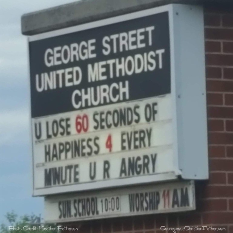 60 Seconds of Happiness Church Sign - This church sign lets us know what happens when we lost 60 seconds of happiness. (George Street United Methodist Church - U Lose 60 Seconds of Happiness 4 Every Minute U R Angry)