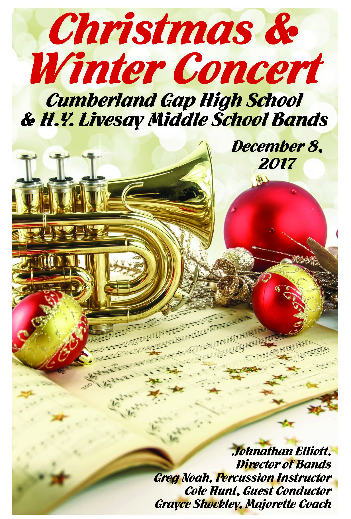 Cumberland Gap High School & H.Y. Livesay Middle School (Christmas Band Concert Poster