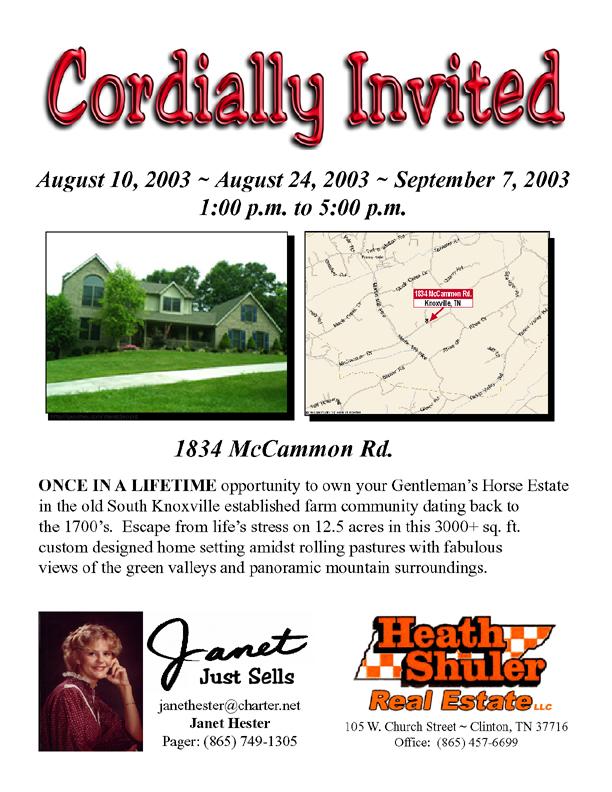 Janet Hester / Heath Shuler Real Estate Flyer