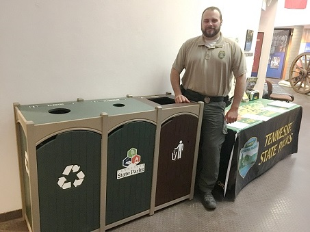 Interior Recycling Bins Available At All Tennessee State Parks - This is part of a Second phase of state parks' recycling program. Visitors to Tennessee State Parks will now be able to use interior recycling bins at all 56 of the state parks in the second phase of improvements to the parks' recycling program. (Recycle Away Bins) Pictured: Ranger Tyson Weller with interior bins at Fort Pillow State Historic Park