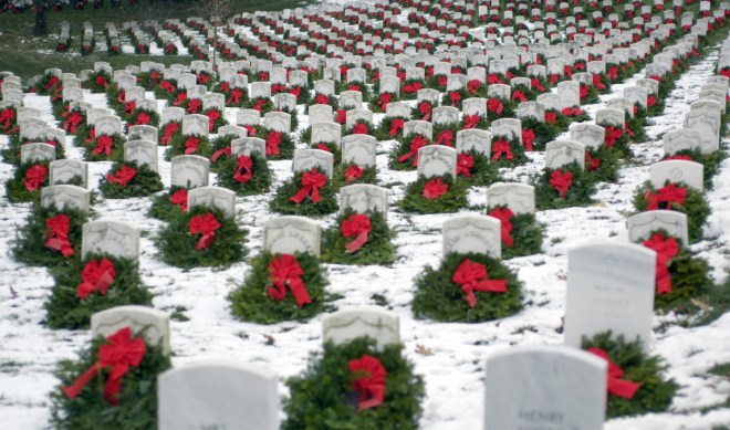 National Wreaths Across America Day - A time to Remember and Honor our Veterans during Christmas by placing wreaths on veterans graves.