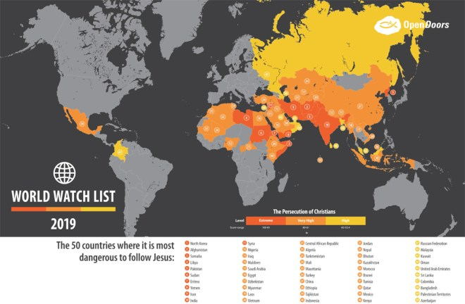The 2019 Open Doors World Watch List reveals disturbing revelations for the world's two most populous countries—India and China—which have seen a dramatic increase in the persecution against Christians.