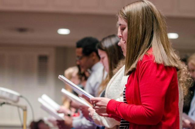 Kimberly Hagen, of Carrollton, Georgia, joins fellow Carson-Newman University nursing students in reciting an Oath to Compassionate Patient Care during a Blessing of the Hands ceremony Feb. 8 in First Baptist Church of Jefferson City.