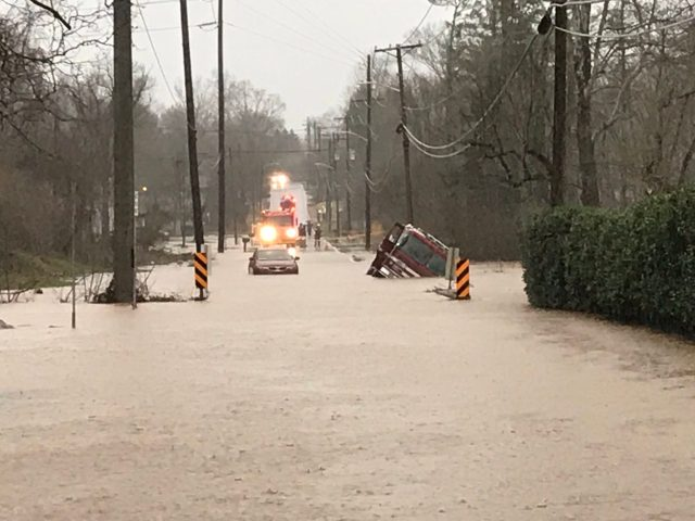 KFD engine 11 fell victim to a weekend roadway due to heavy water while responding to a trapped motorist. KFD reminding folks to turn around don't drown when approaching high water on the roadway.