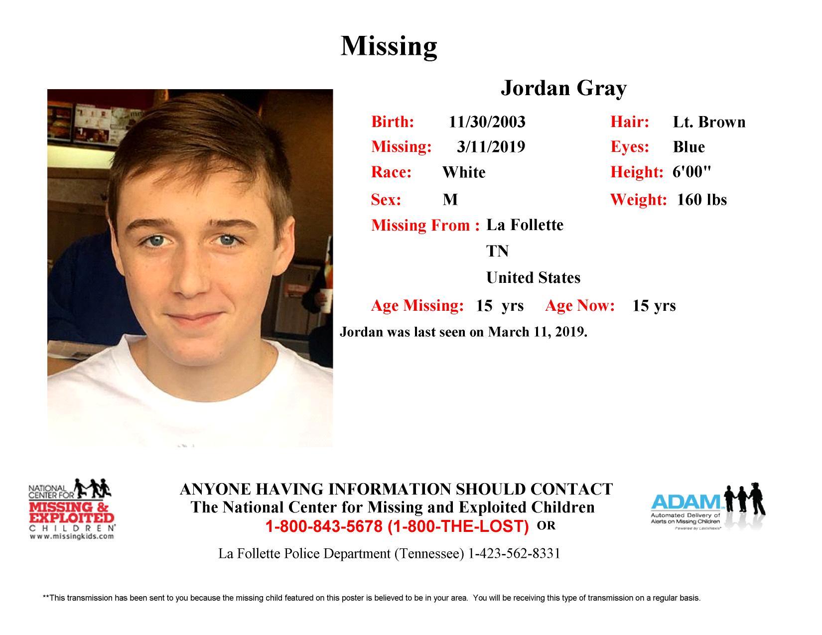 Missing: Jordan Gray