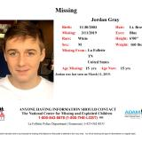 Missing: Jordan Gray, 15 Years Old, Last seen March 11, 2019, in the La Follette, TN area. White Male, Lt. Brown Hair, Blue Eyes, 6'0″, 160 lbs.