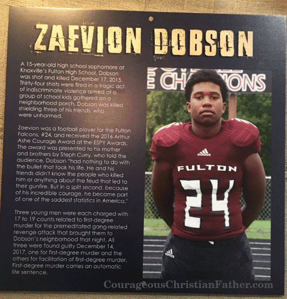 Zaevion Dobson featured on temporary Tennessee Exhibit at Alcatraz East Crime Museum in Pigeon Forge, TN.