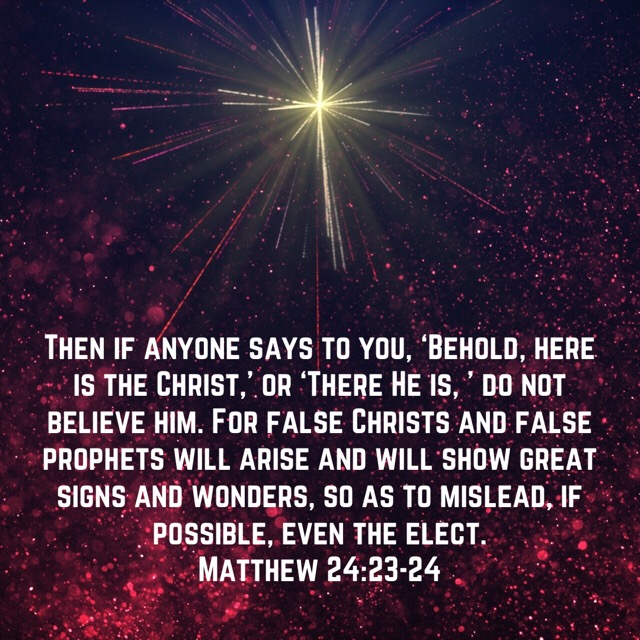 VOTD August 1 - Then if anyone says to you, 'Behold, here is the Christ,' or 'There He is, ' do not believe him. For false Christs and false prophets will arise and will show great signs and wonders, so as to mislead, if possible, even the elect. Matthew 24:22-24 NASB
