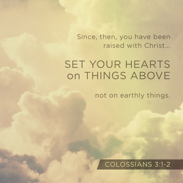 VOTD July 18, 2019 - Set your mind on the things above, not on the things that are on earth. For you have died and your life is hidden with Christ in God. COLOSSIANS 3:2-3 NASB