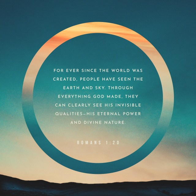 VOTD August 8 - For since the creation of the world His invisible attributes, His eternal power and divine nature, have been clearly seen, being understood through what has been made, so that they are without excuse. Romans 1:20 NASB