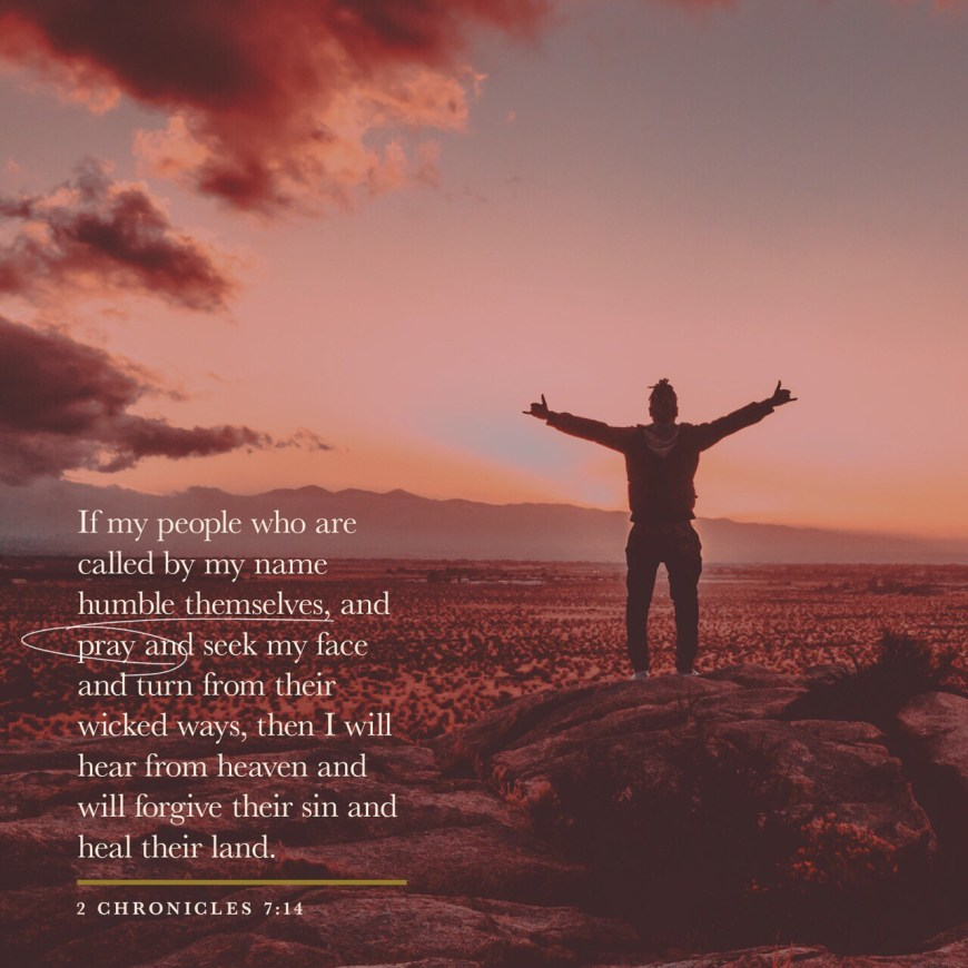 VOTD August 19 - and My people who are called by My name humble themselves and pray and seek My face and turn from their wicked ways, then I will hear from heaven, will forgive their sin and will heal their land. 2 Chronicles 7:14 NASB
