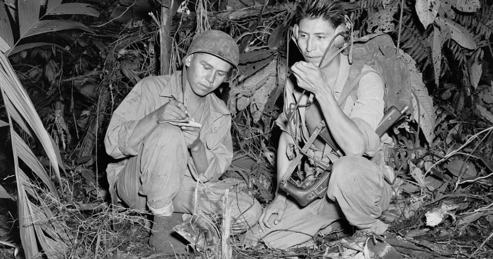 Navajo Indian Code Talkers Henry Bake and George Kirk, December 1943 U.S. Marine Corps, Department of the Navy, Department of Defense