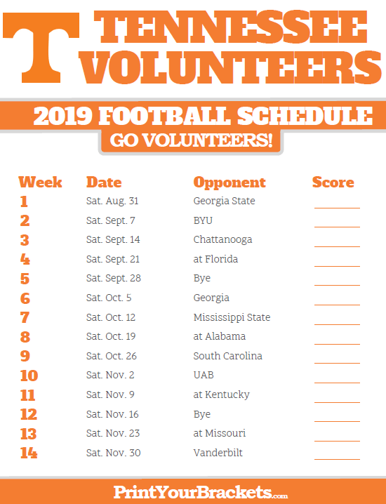2019 Vols Football Schedule