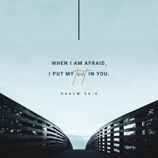 "VOTD October 12 ""When I am afraid, I will put my trust in You."" Psalms 56:3 NASB"