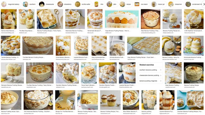 5 Essential Desserts - These are some of my favorite desserts.  (Banana Pudding Google Screenshot)