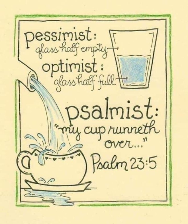 Your Cup - Is your cup half empty? half full? over flowing? (Pessimist, Optimist and a Psalmist. #Pessimist #Optimist #Psalmist