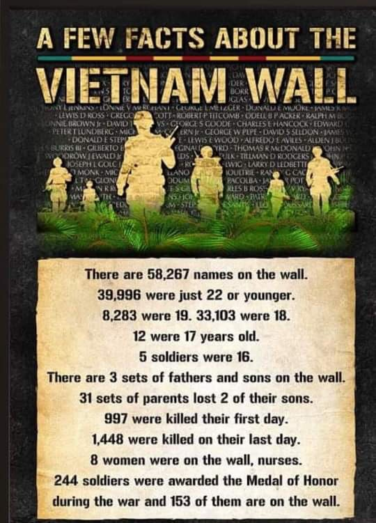 Facts about the Vietnam Wall - Here is another infographic I saw on Facebook and wanted to share with my readers. This one shares a few facts about the Vietnam Wall. #VietnamWall (WIth Updates on the blog post)
