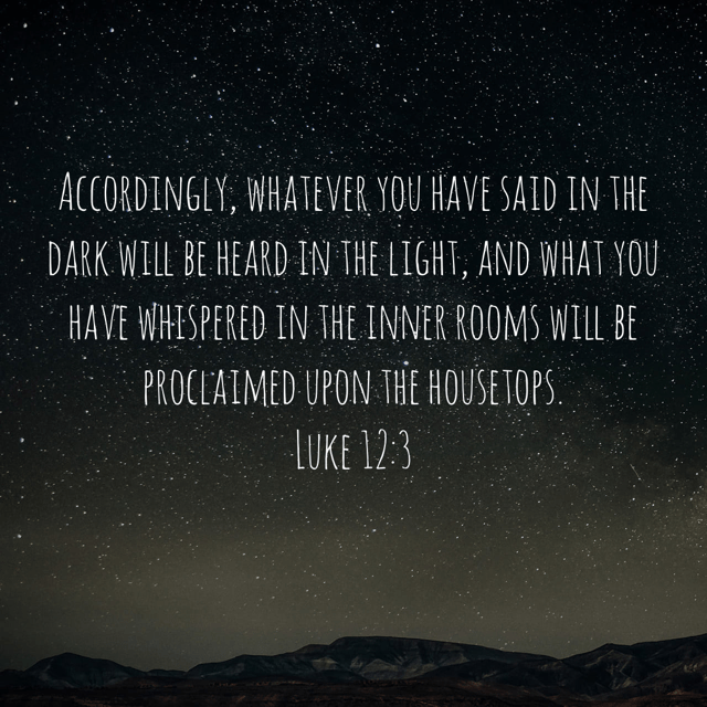 "VOTD December 23 - ""Accordingly, whatever you have said in the dark will be heard in the light, and what you have whispered in the inner rooms will be proclaimed upon the housetops."" ‭‭Luke‬ ‭12:3‬ ‭NASB‬‬"