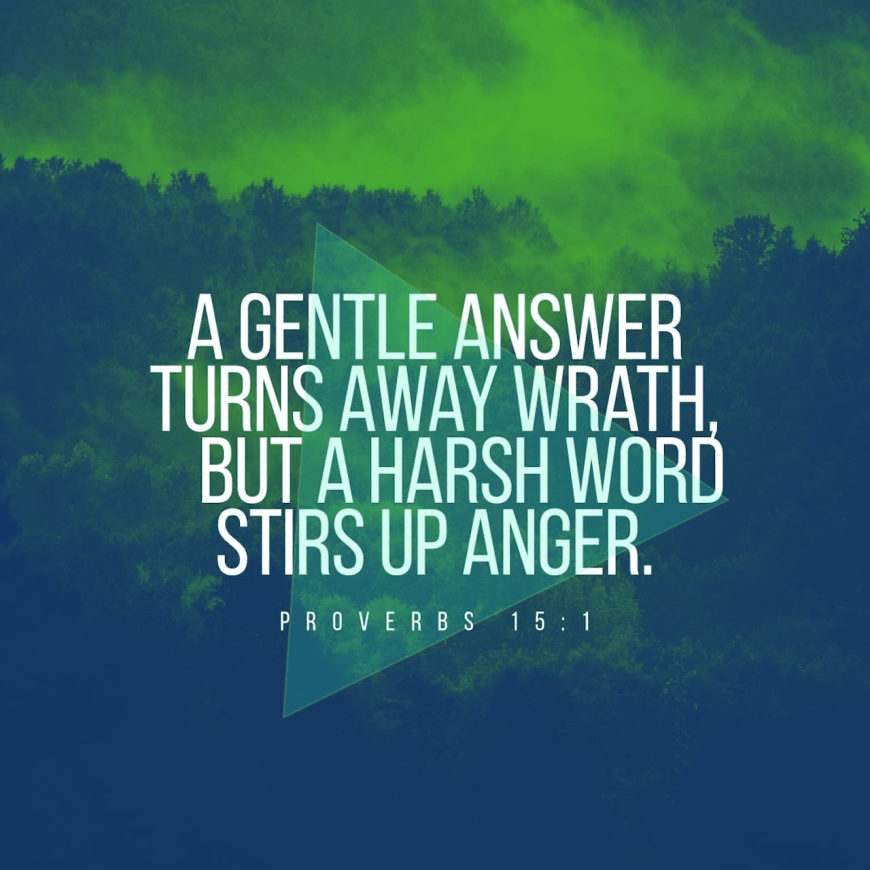 "VOTD December 30 - ""A gentle answer turns away wrath, But a harsh word stirs up anger."" ‭‭Proverbs‬ ‭15:1‬ ‭NASB‬‬"