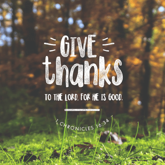 """Give Thanks Bible Verse  """"O give thanks to the LORD, for He is good; For His lovingkindness is everlasting."""" 1 Chronicles 16:34 NASB"""