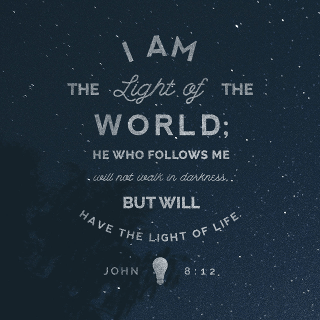 "VOTD January 25 - ""Then Jesus again spoke to them, saying, ""I am the Light of the world; he who follows Me will not walk in the darkness, but will have the Light of life."""" ‭‭John‬ ‭8:12‬ ‭NASB‬‬"