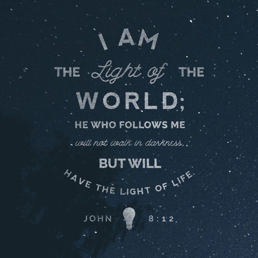 """VOTD January 25 - """"Then Jesus again spoke to them, saying, """"I am the Light of the world; he who follows Me will not walk in the darkness, but will have the Light of life."""""""" John 8:12 NASB"""