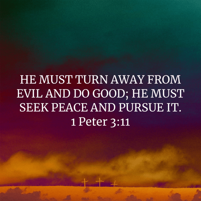 """VOTD January 31 - """"HE MUST TURN AWAY FROM EVIL AND DO GOOD; HE MUST SEEK PEACE AND PURSUE IT."""" 1 Peter 3:11 NASB"""