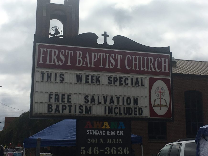 This Week Special Church Sign is this weeks Church Sign Saturday. This church sign comes from from First Baptist Church of Barbourville, KY (This week Special - Free Salvation Baptism Inlcuded)